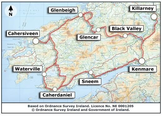 The Kerry Way Self Guide Map