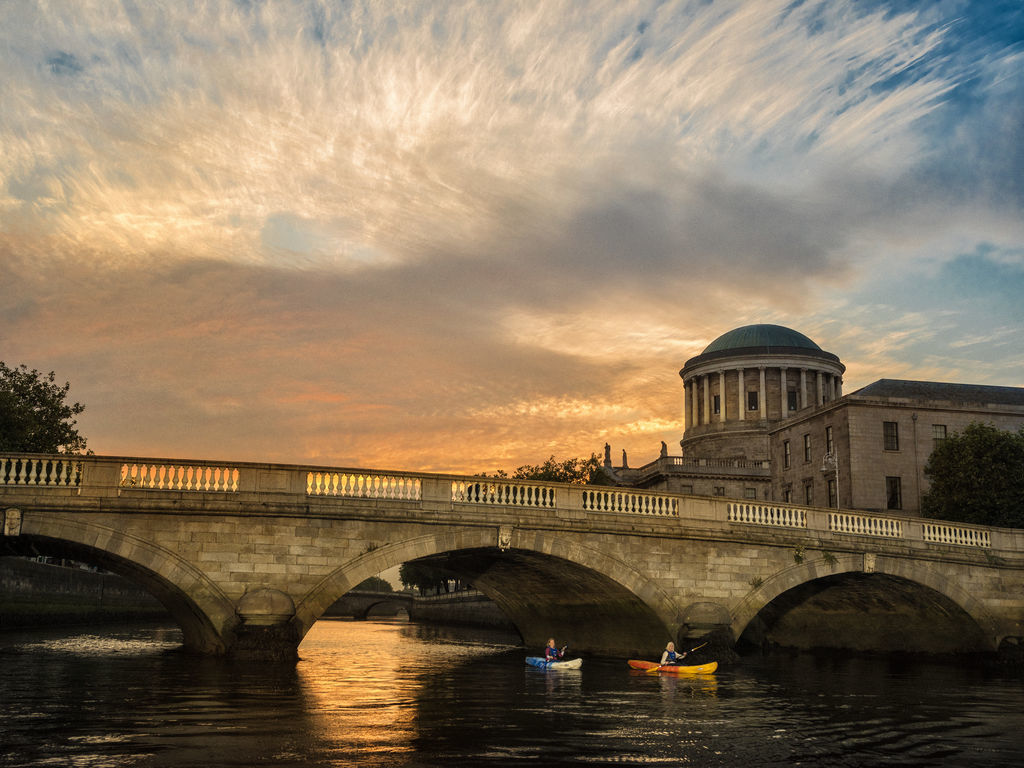 The 4 Courts overlooking the River Liffey, Dublin, Ireland