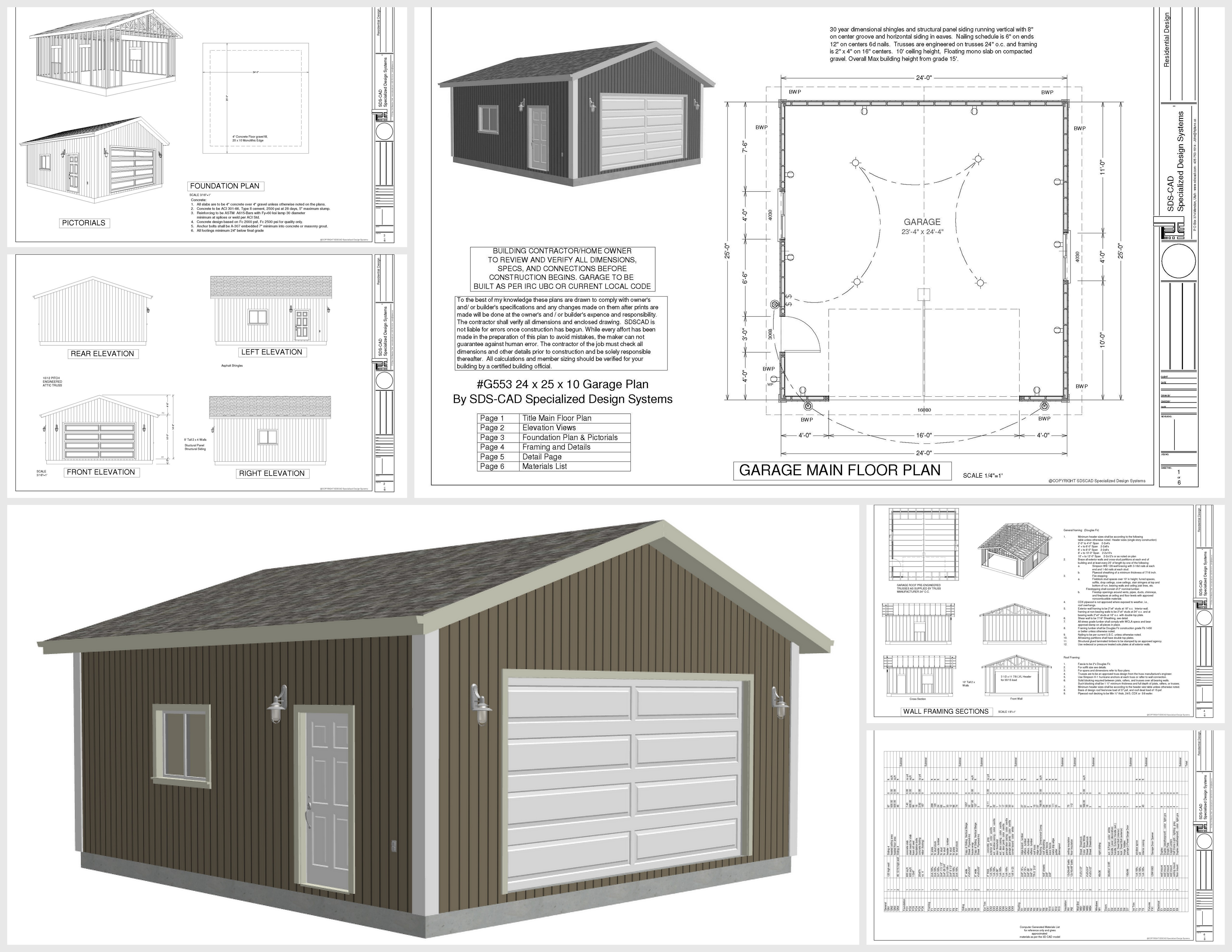 G553 24 x 25 x 10 garage plans with pdf and dwg files for Garage plans free blueprints