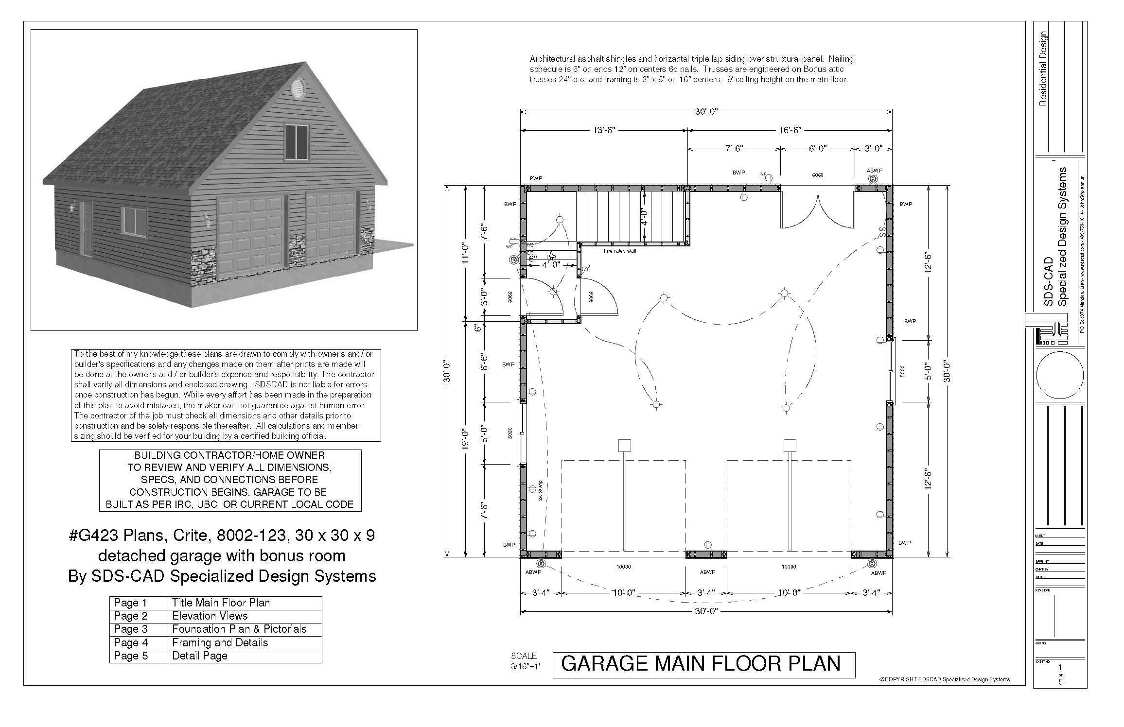 G423a garage plans 30 x 30 x 9 pdf and dwg files garage for Pole barn plans pdf