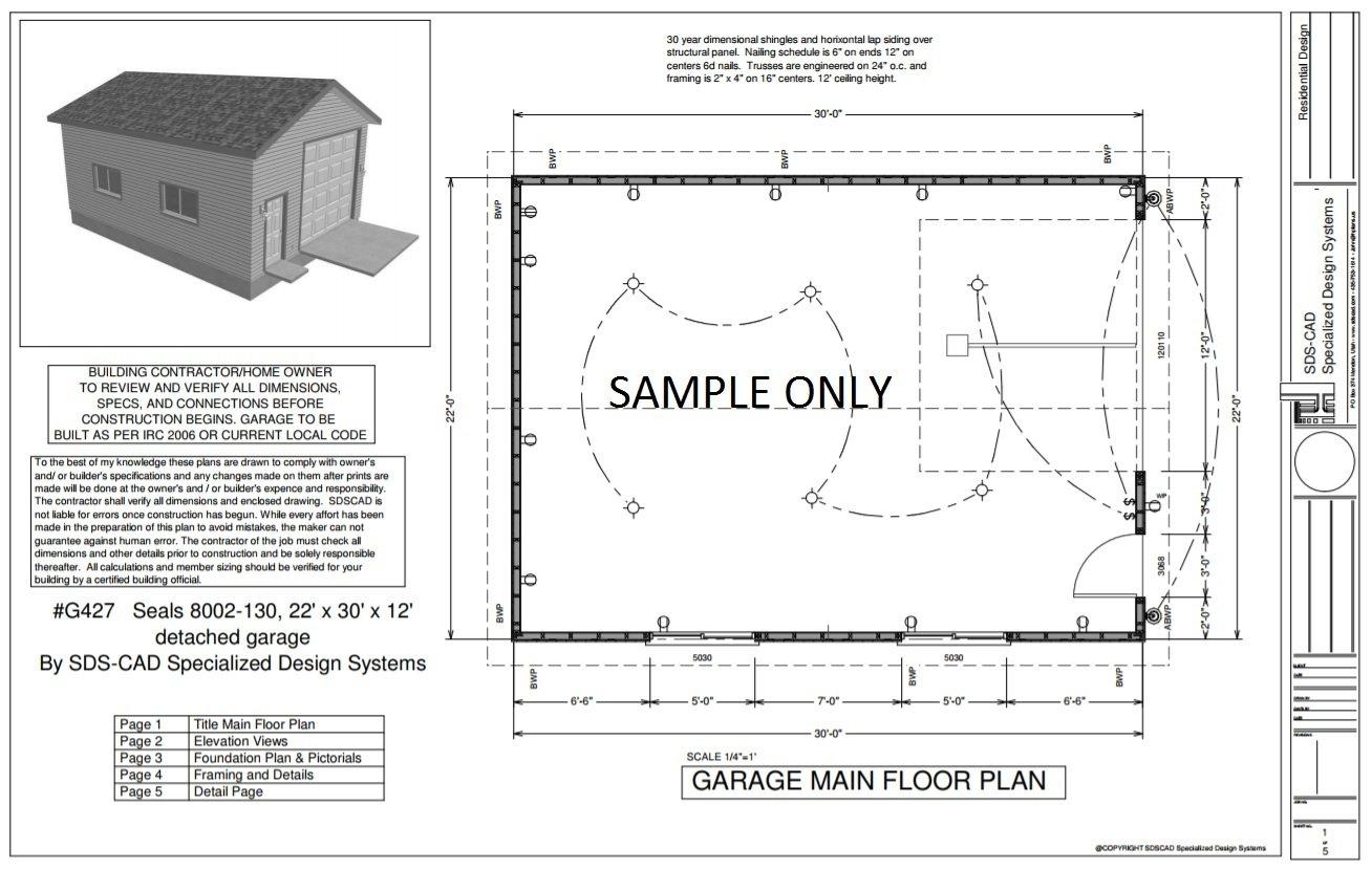 G427 22 X 30 12 Workshop RV Garage Plans