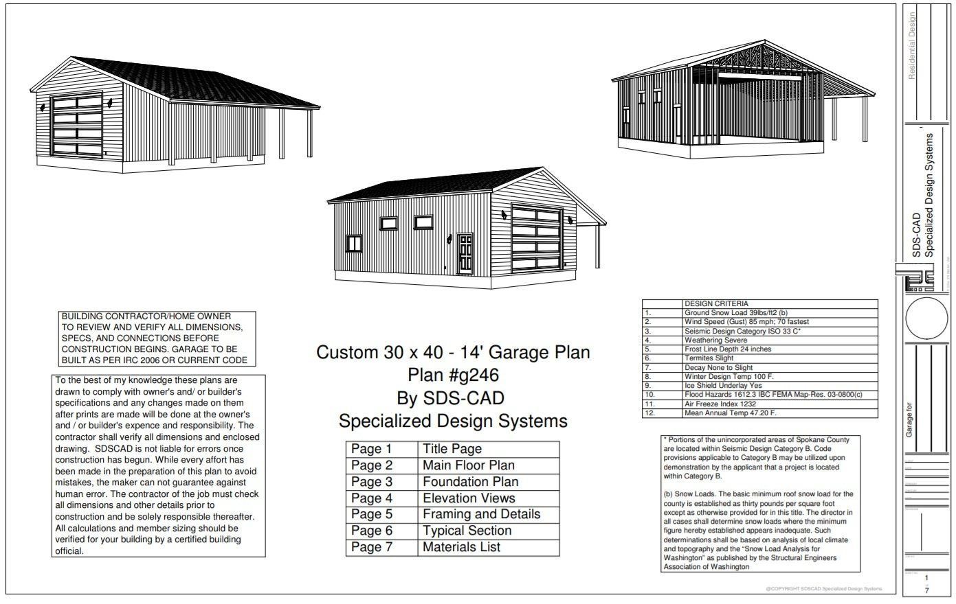Rv garage blueprints sds plans for Rv workshop