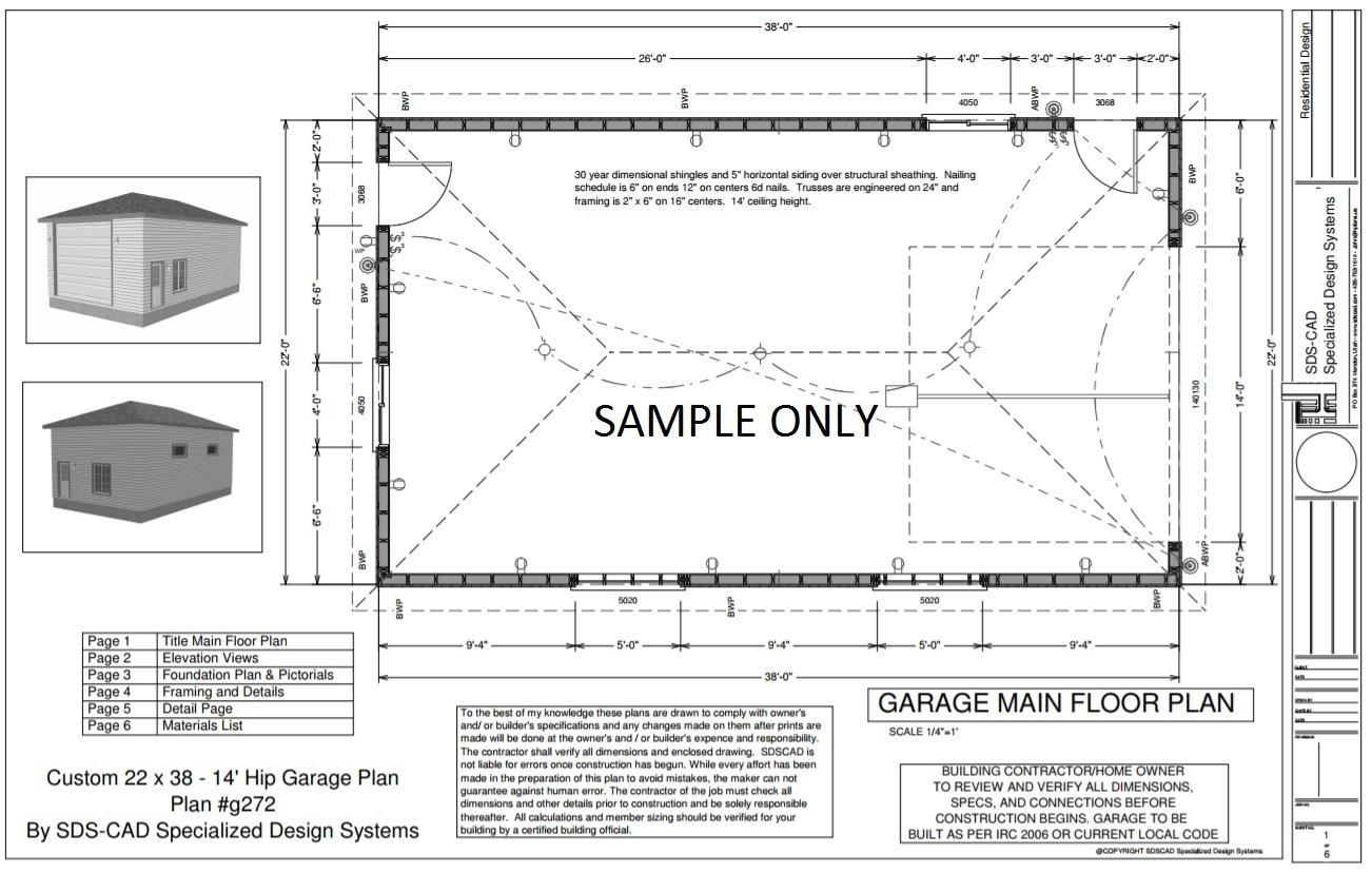 G272 22 X 38 14 Hip Roof RV Garage Plans Blueprints