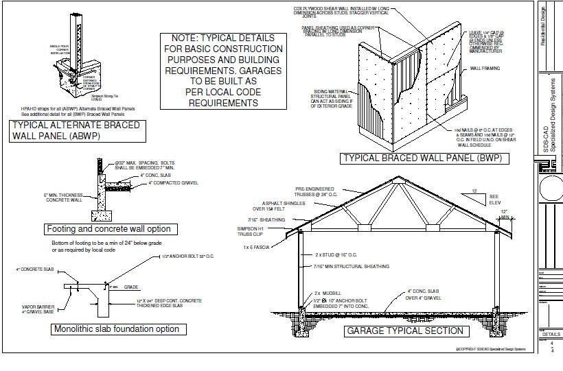 G393 30 X 50 X 14 detached RV Garage Plans PDF – 50 X 30 Garage Plans