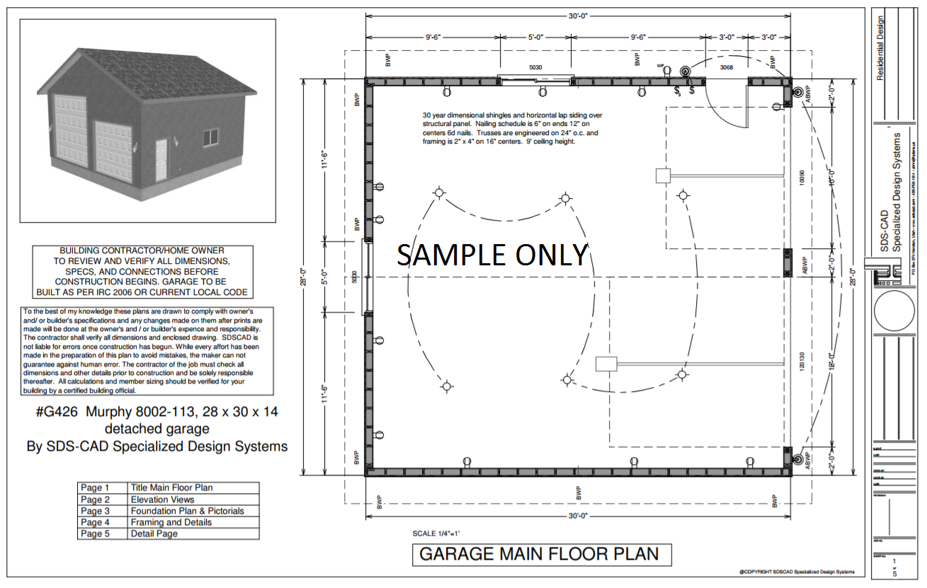 G426 28 x 30 x 14 detached rv garage plans garage plans for Free garage plans online