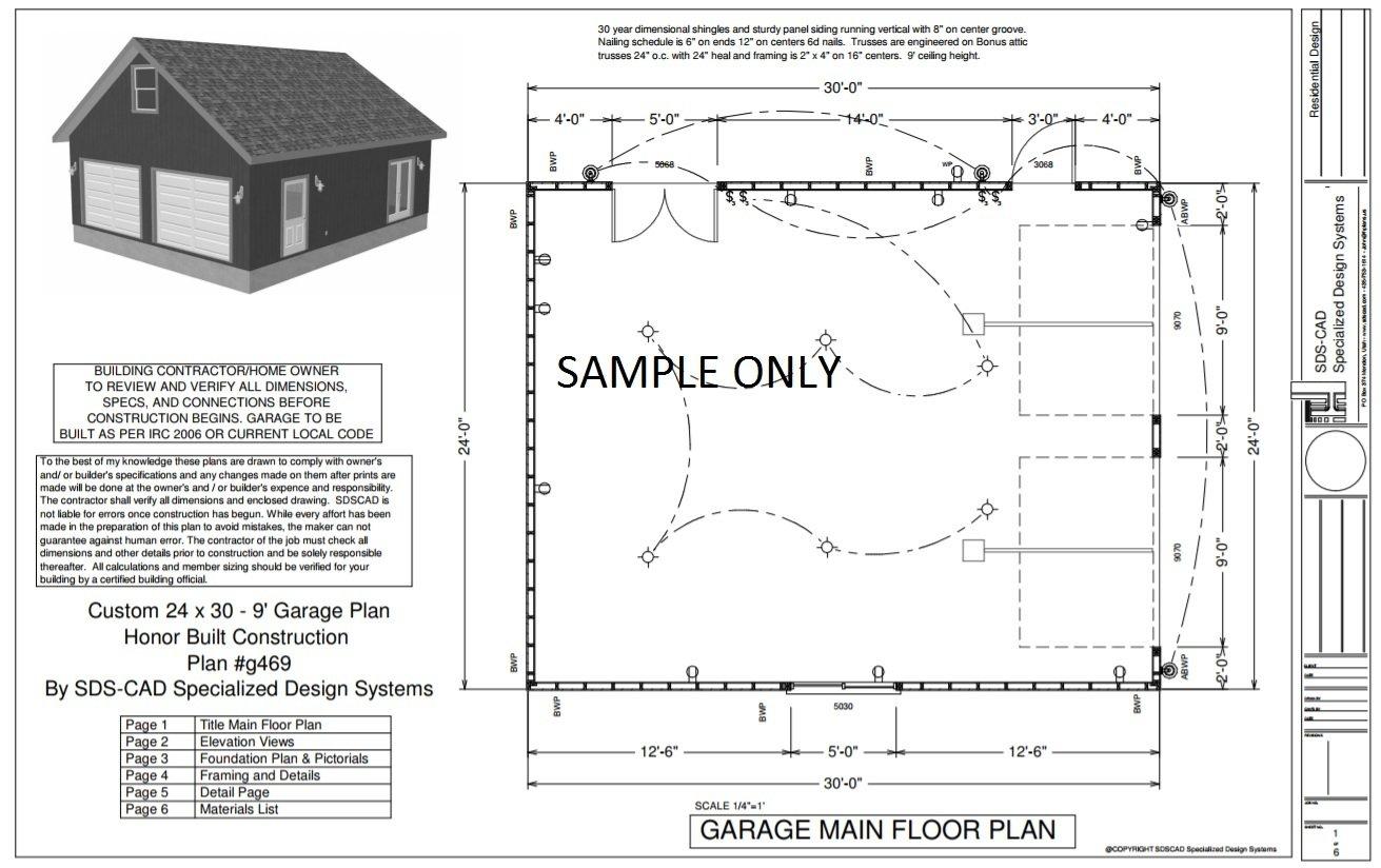 G469 24 x 30 x 9 2Car Garage Plans with attic storage – Garage Plans 24 X 30