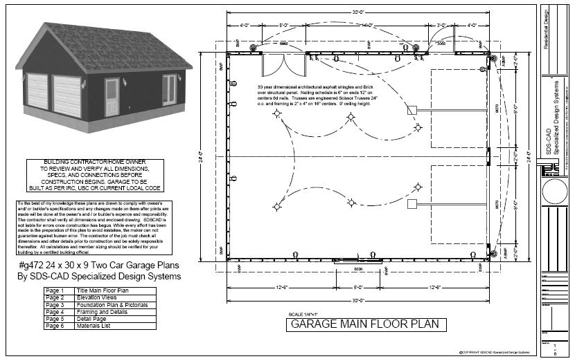 g472 24 x 30 x 9 two car garage plans with scissor truss with PDF