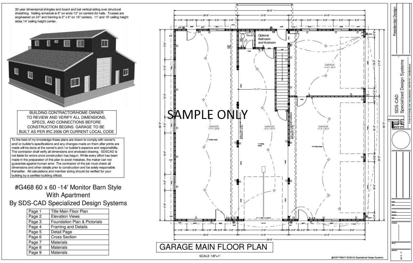 G468 60 x 60 14 39 monitor barn style garage with apartment for Barn style garage with apartment plans