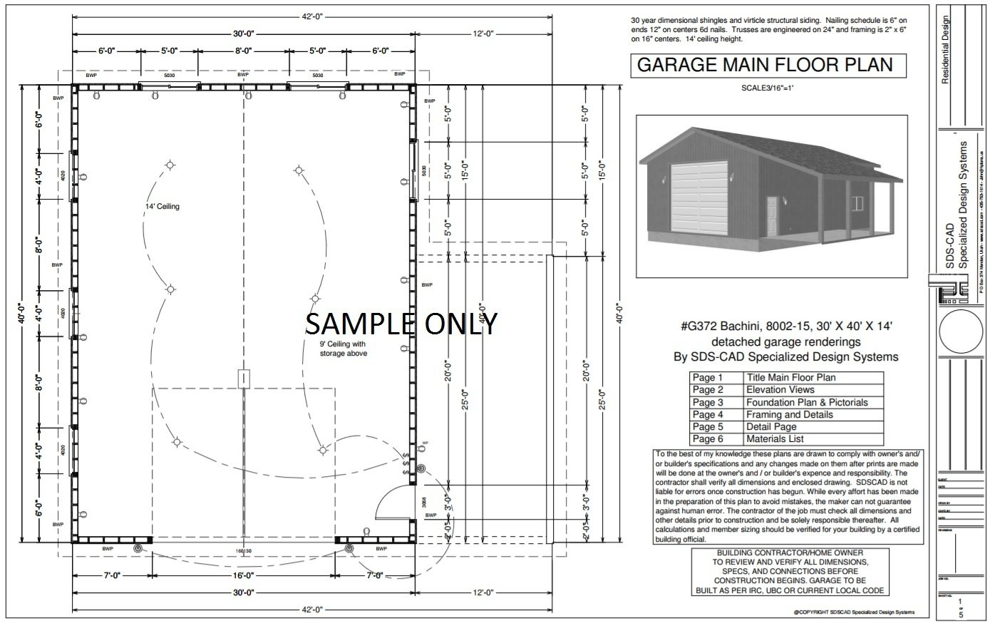 G372 30 x 40 x 14 tall garage plan with pdf and dwg for Pole barn plans pdf