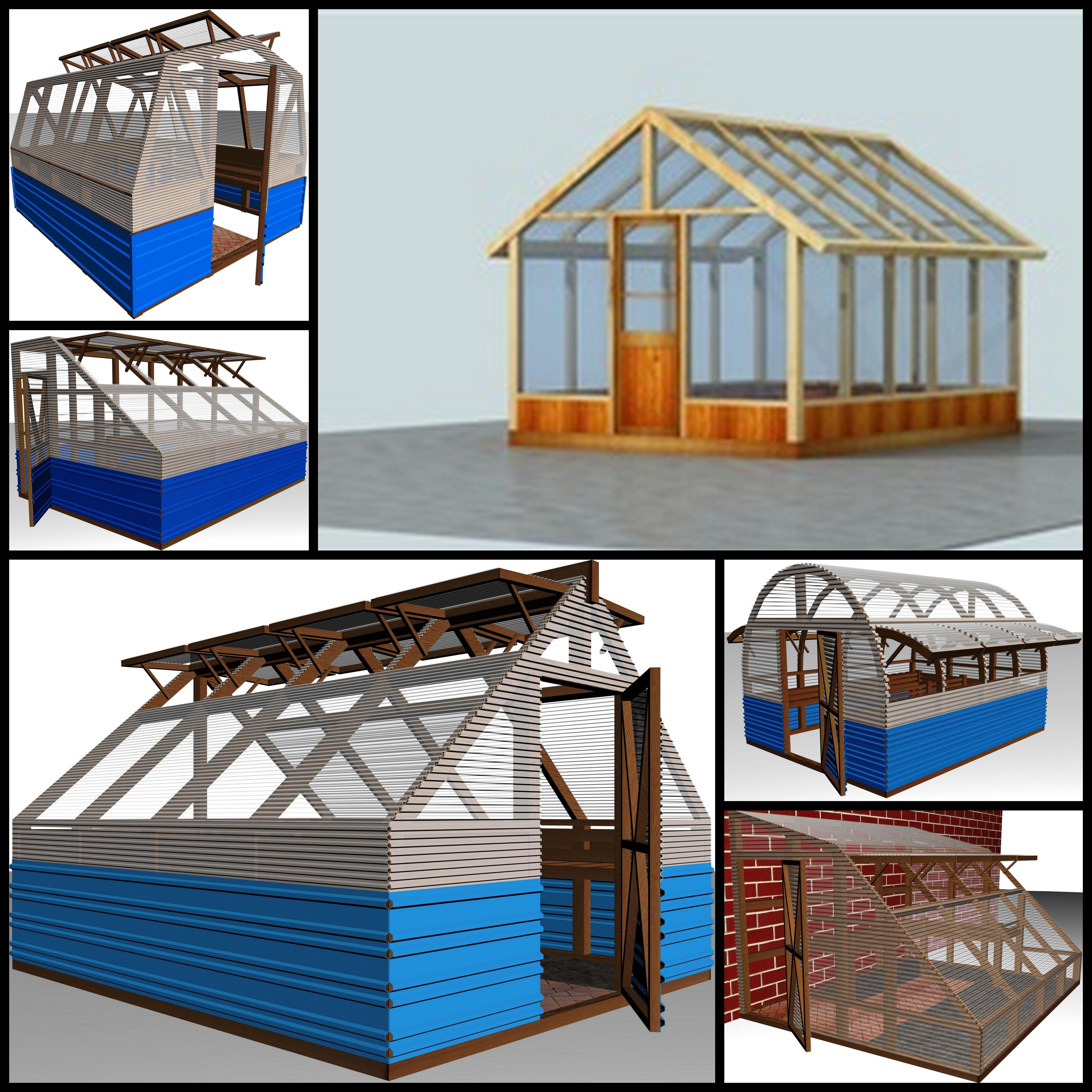 6 complete wood frame green house plans dwg and pdf for Complete set of house plans pdf