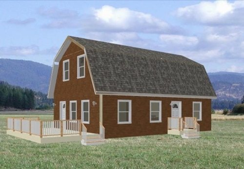 24 39 x 36 39 gambrel roof cabin cabin plans free house for Gambrel barn prices