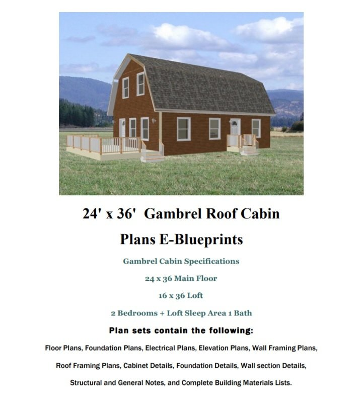 24 39 x 36 39 gambrel roof cabin cabin plans free house for Gambrel roof house plans