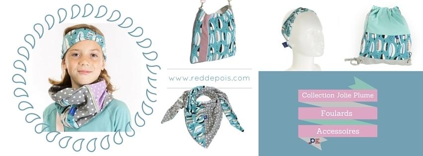 collection foulards jolie plume red de pois