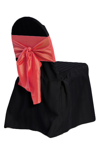 Black Banquet Satin Stripe Chair Cover