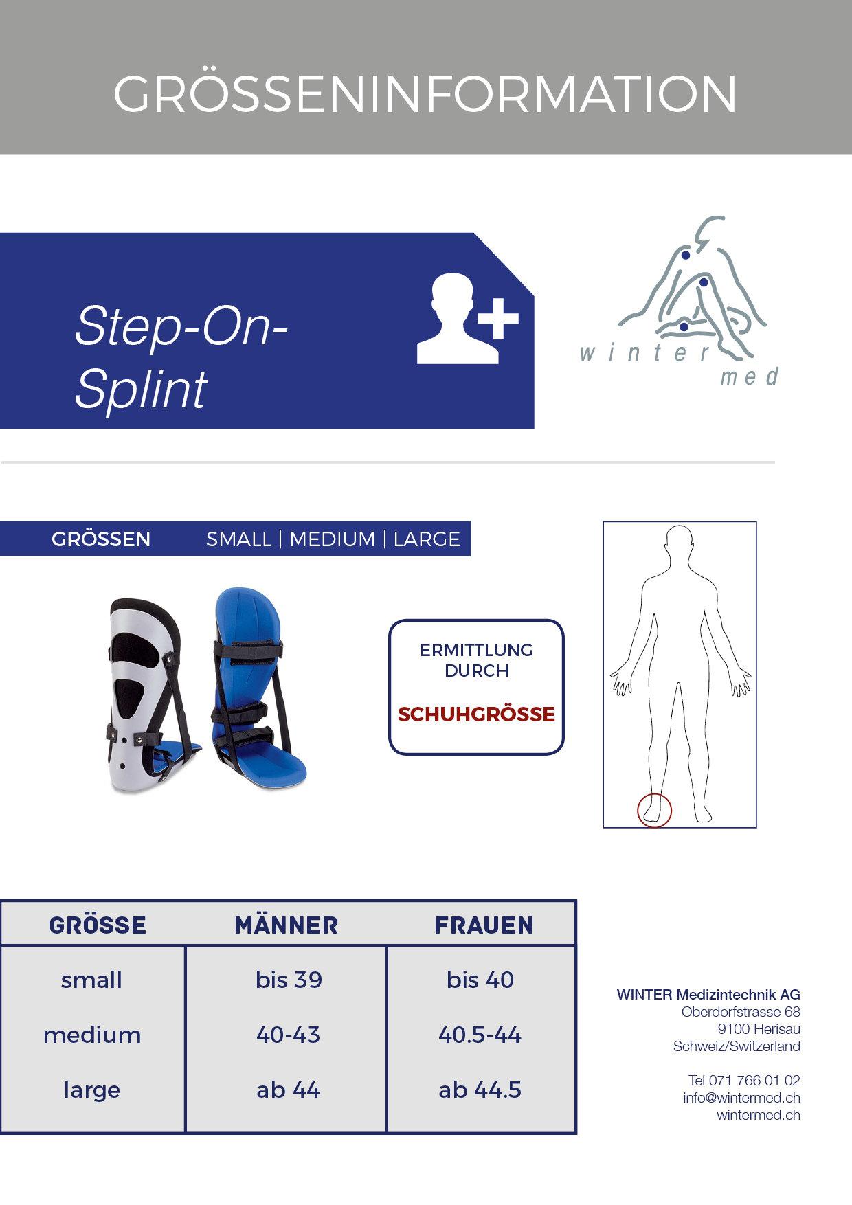 Grössentabelle der Step on Splint Premium Sprunggelenkschiene