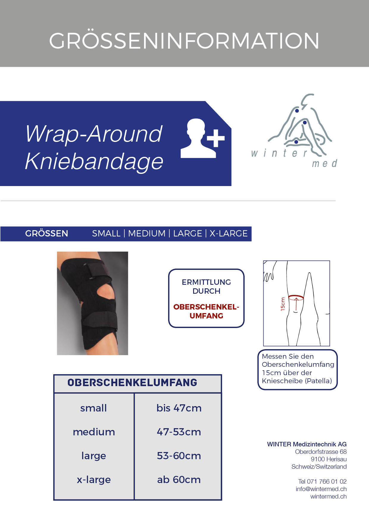 Grössentabelle der Wrap Around Kniebandage