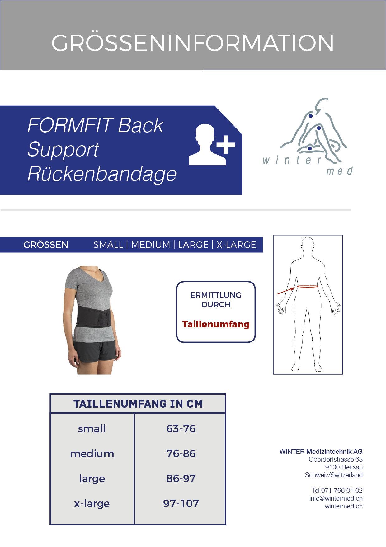 Grössentabelle der Formfit Back Support Rückenbandage