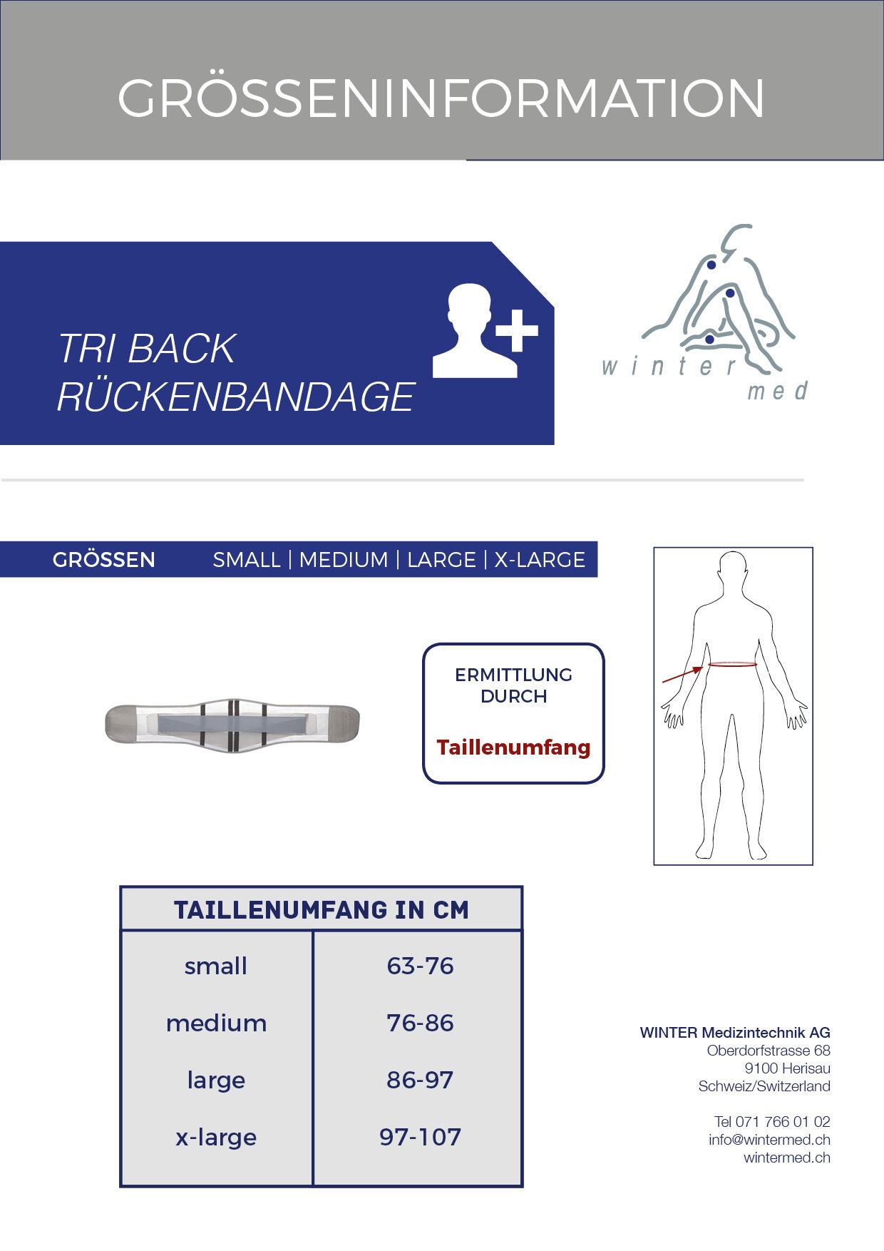 Grössentabelle der TRI BACK Rückenbandage