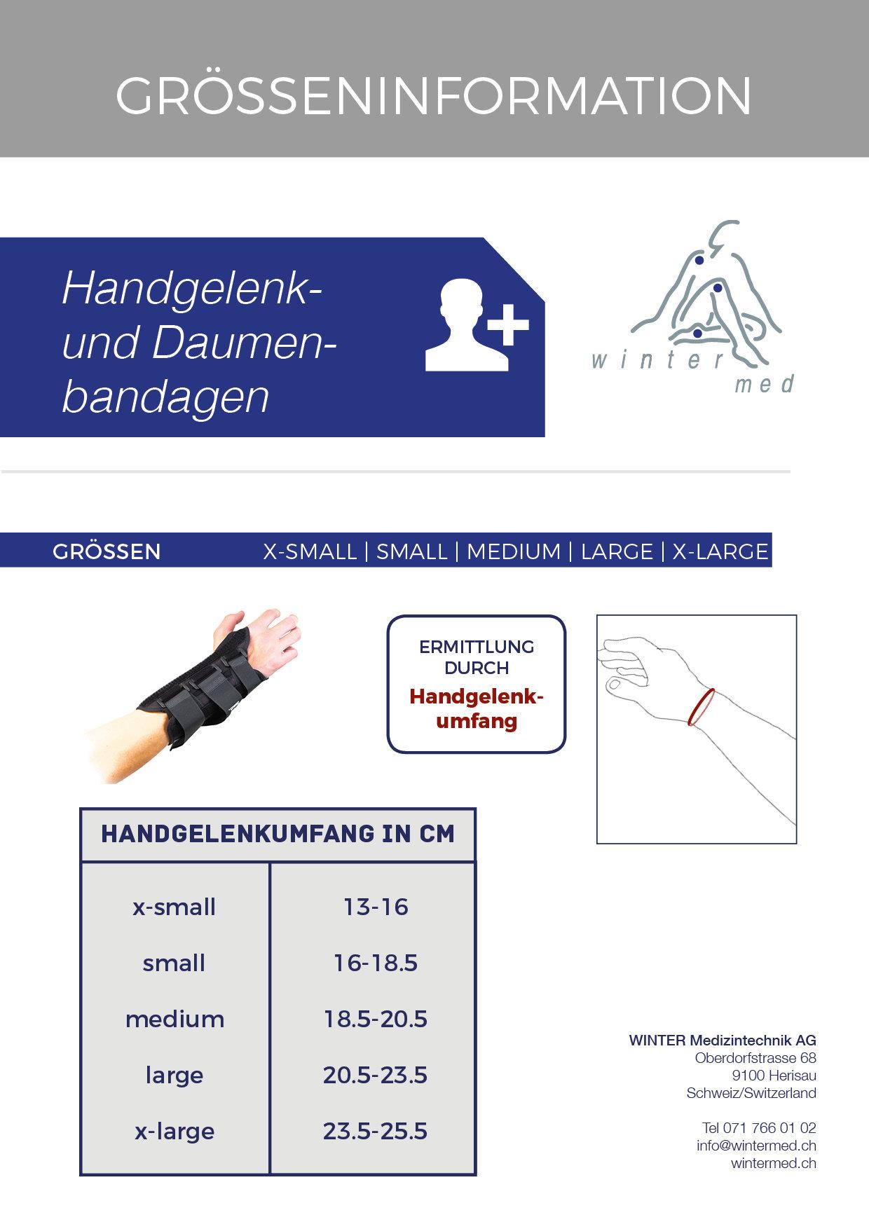 Grössentabelle der Handgelenk- und Daumenschiene Formfit Thumb Spica