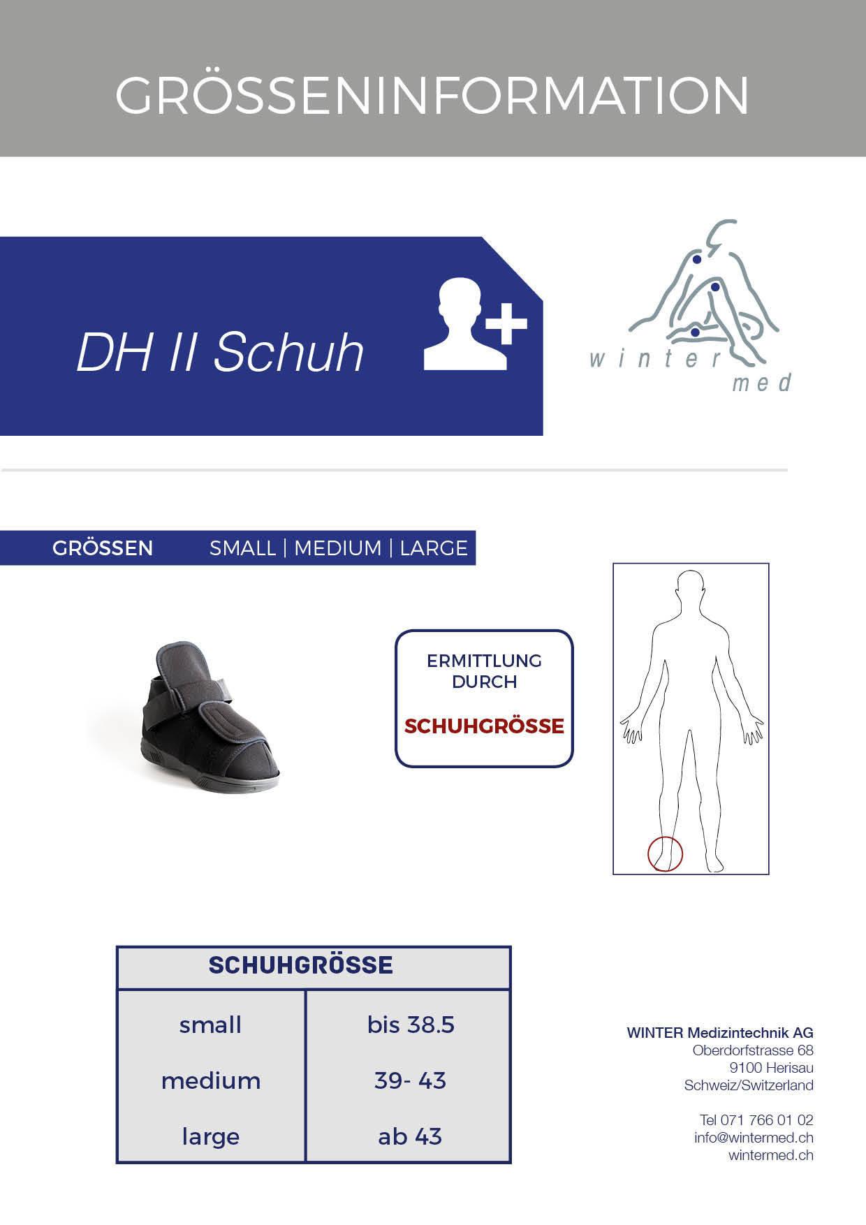 Grössentabelle des DH2 Druckentlastungsschuh