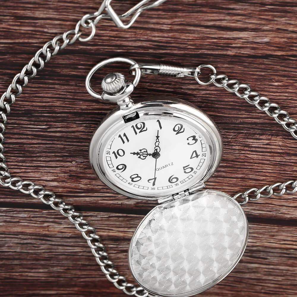 Classic Smooth Steel Pocket Watch - Silver