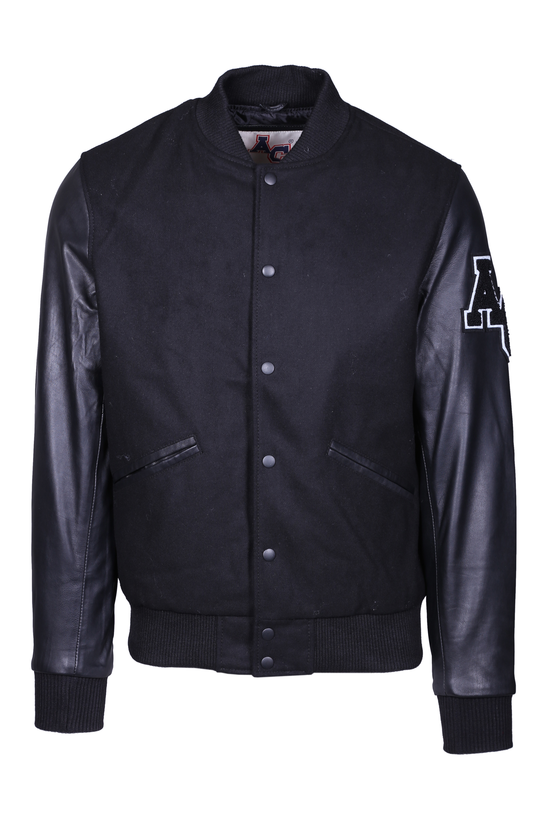 AVIATOR STYLE BOMBER JACKET AMERICAN COLLEGE | Jackets | REF008BLKBLK