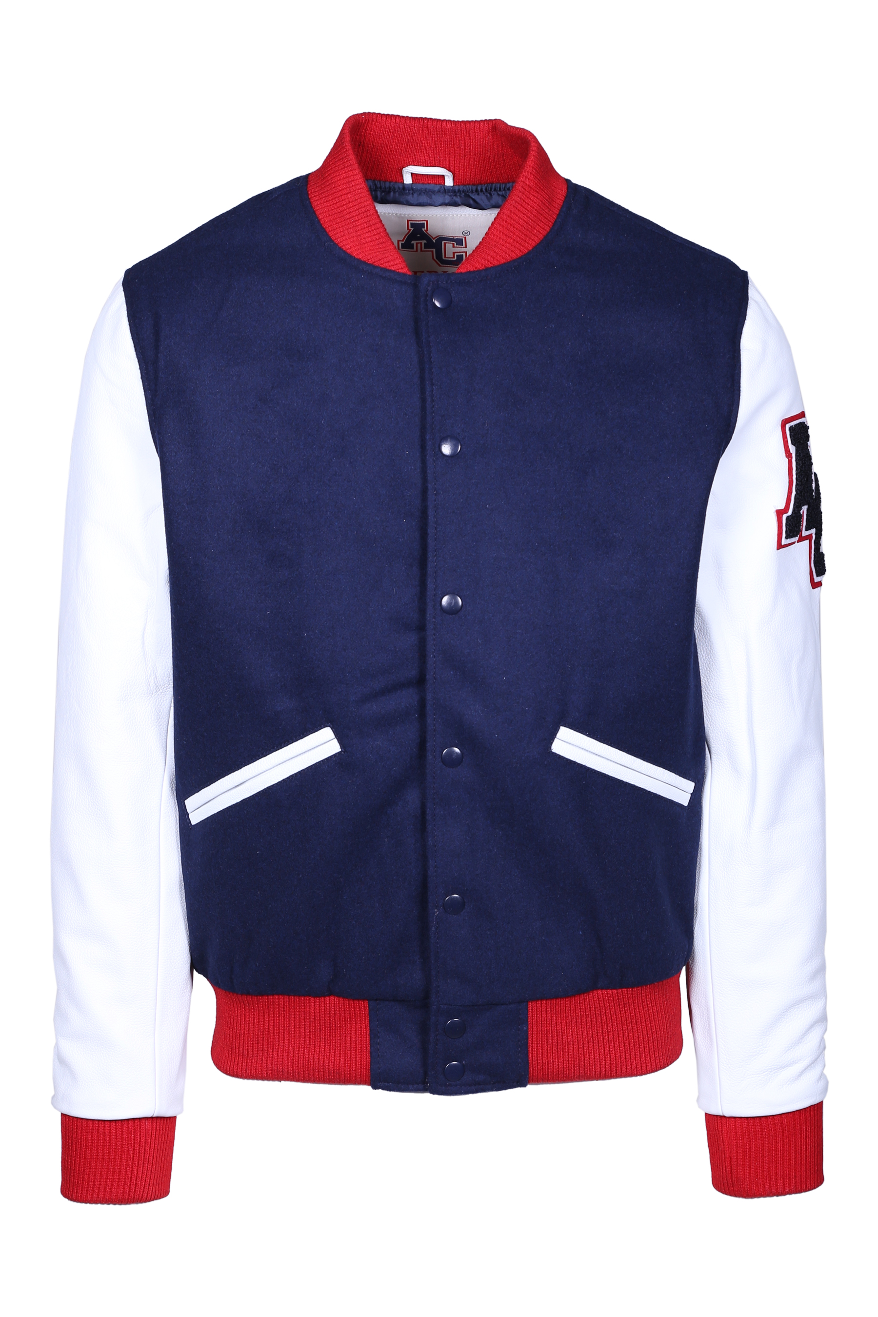 AVIATOR STYLE BOMBER JACKET AMERICAN COLLEGE | Jackets | REF008NAVWHT