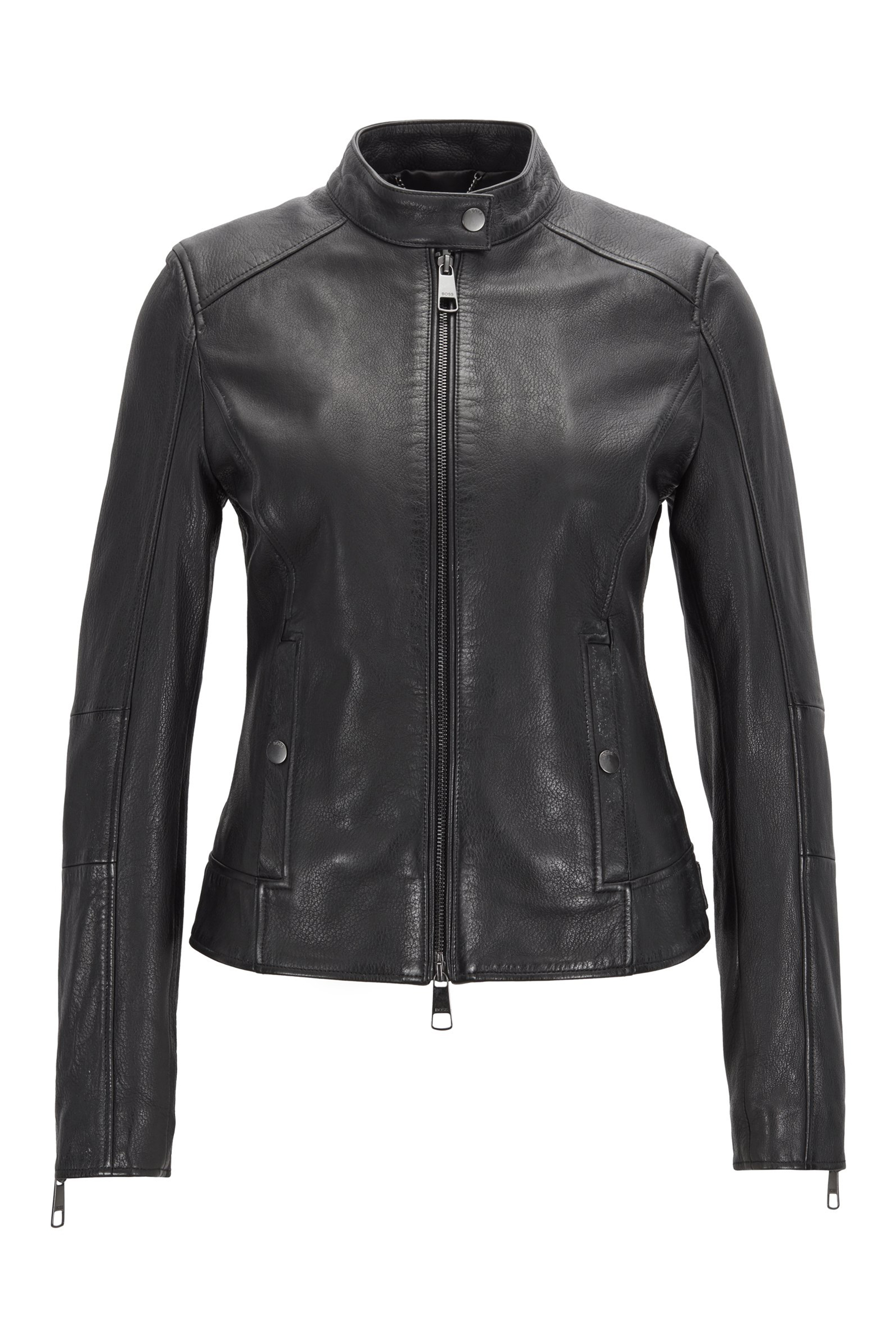 7fc0bef345 Biker jacket in structured nappa leather with stand collar