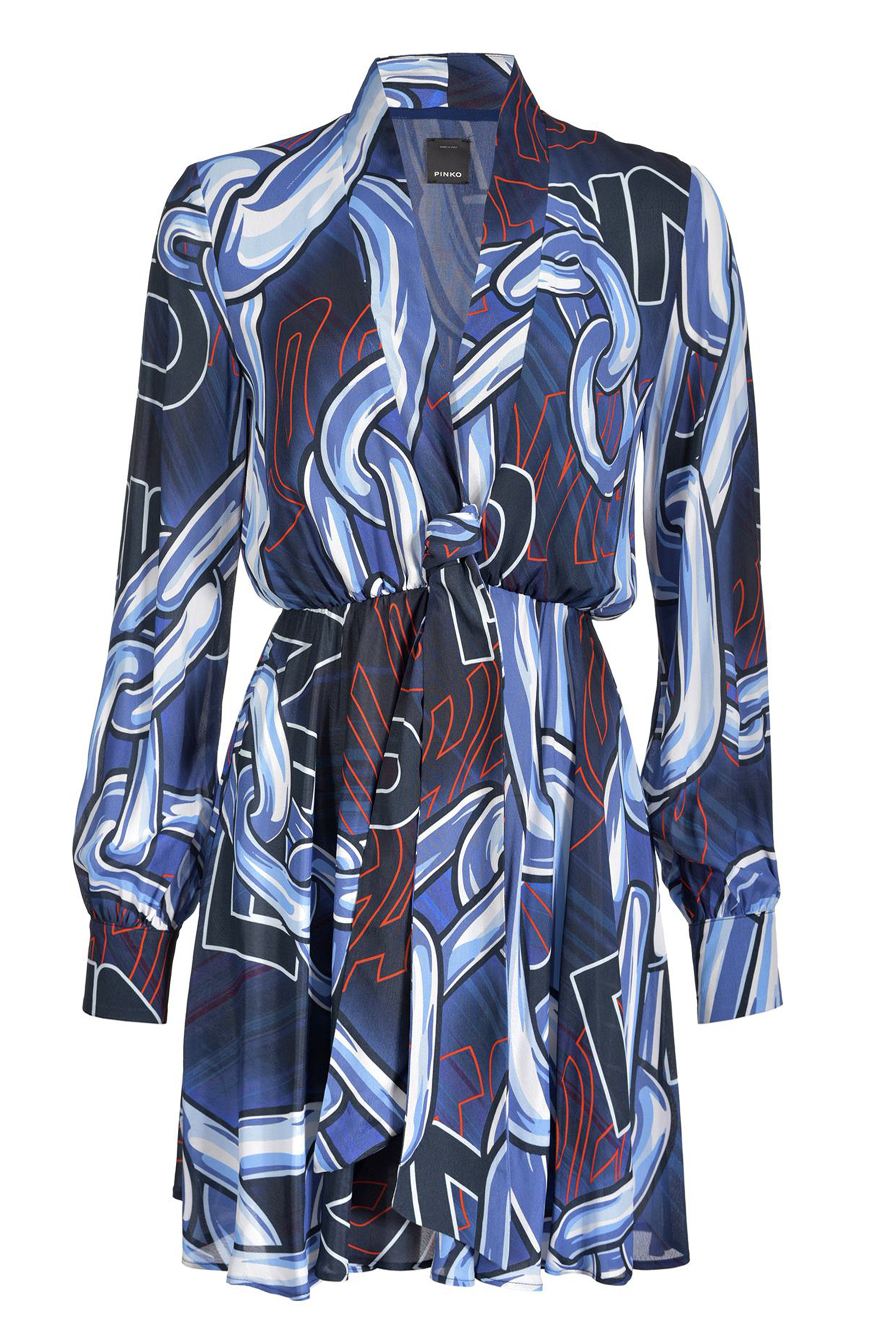 MACRO CHAIN AND LOGO PRINT DRESS PINKO | Dresses | 1G14DP7633ER4