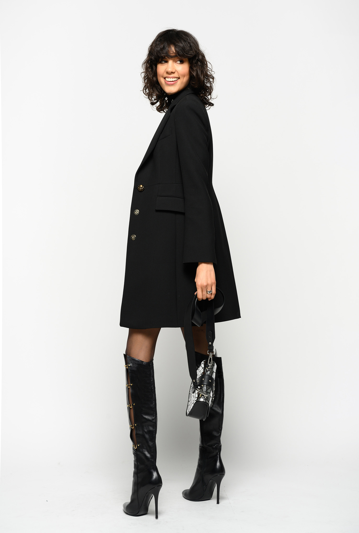 COAT WITH JEWEL BUTTON PINKO | Coat | 1G14H17642Z99