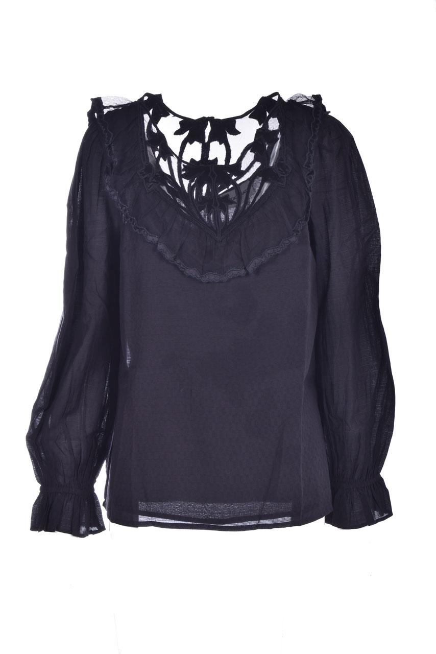 Blusa nera con scollatura in pizzo ANTIK BATIK | Bluse | CELINE1BLOBLACK