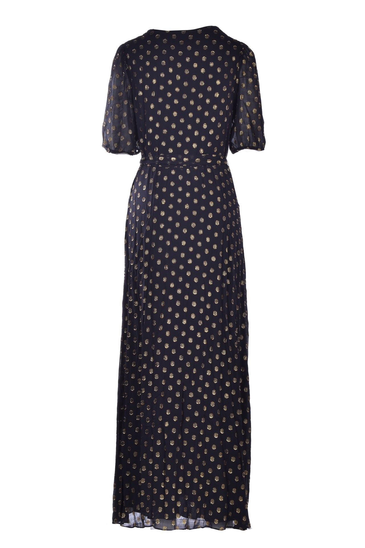 Long dress in black chiffon with gold polka dots ANTIK BATIK | Dresses | DOVA1LDRBLACK