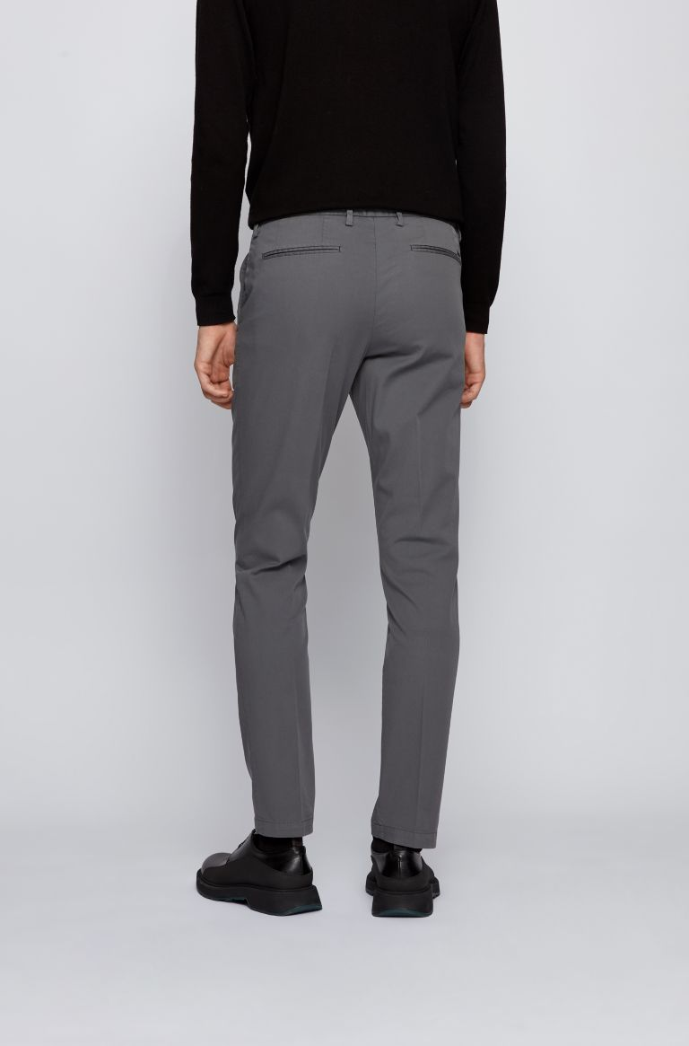 Slim-fit chinos in stretch-cotton gabardine - grey BOSS | Trousers | 50410310032