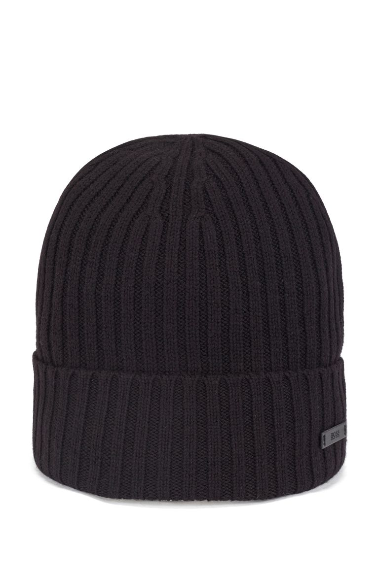 Ribbed hat in virgin wool with logo plate BOSS   Hats   50435354001