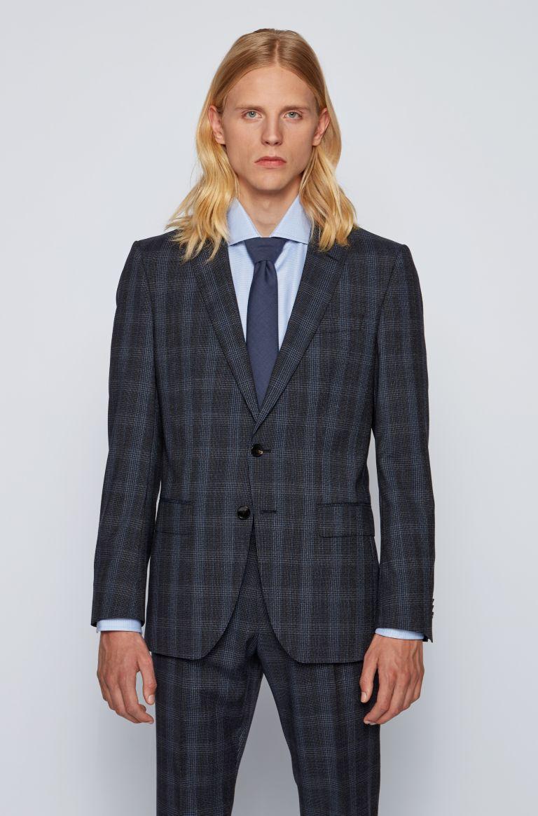 Huge / Genius Slim fit men's suit in Prince of Wales virgin wool BOSS   Dresses   50438224417