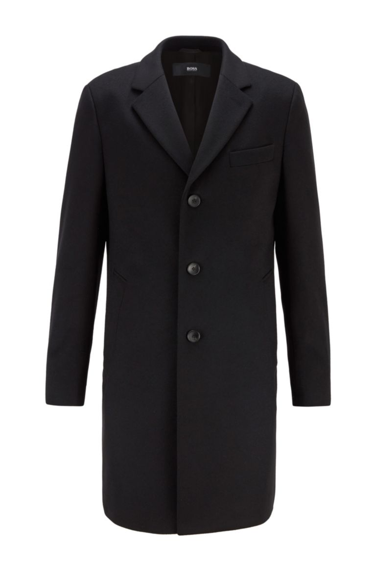 Neye Slim fit coat in virgin wool and cachmere - black BOSS | Coat | 50438689001