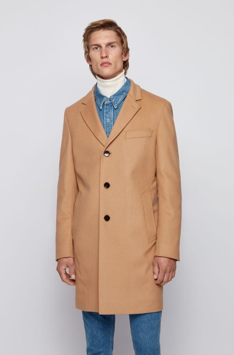 Neye Cappotto slim fit in lana vergine e cachmere - beige BOSS   Cappotti   50438689262