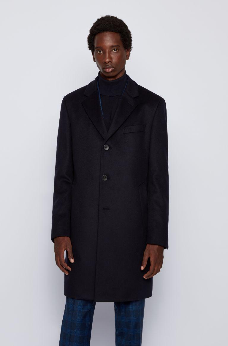 Neye Slim fit coat in virgin wool and cachmere - dark blue BOSS | Coat | 50438689402