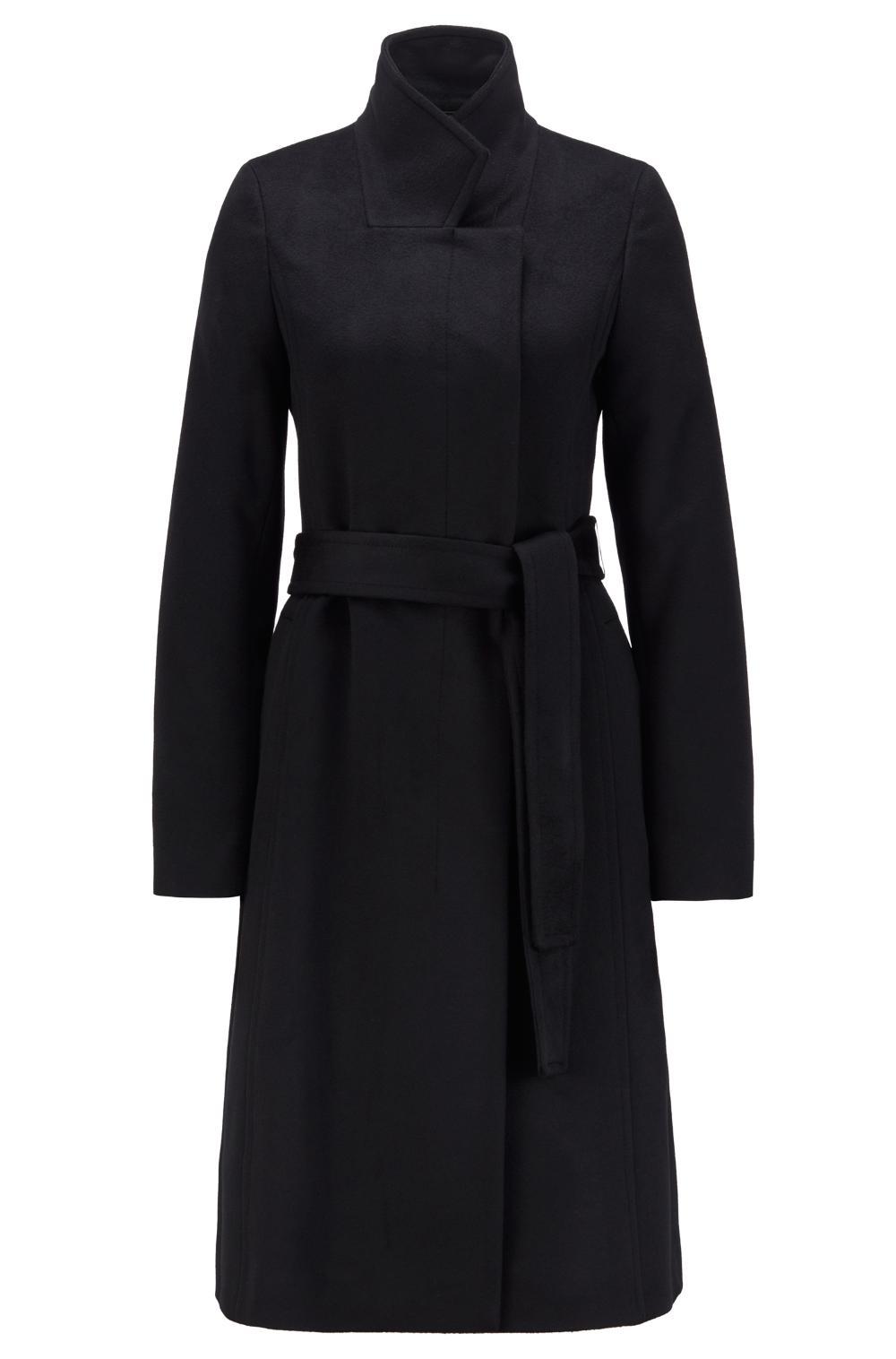 Cappotto in lana vergine italiana con cintura e finitura effetto zibellino BOSS | Cappotti | 50446197001