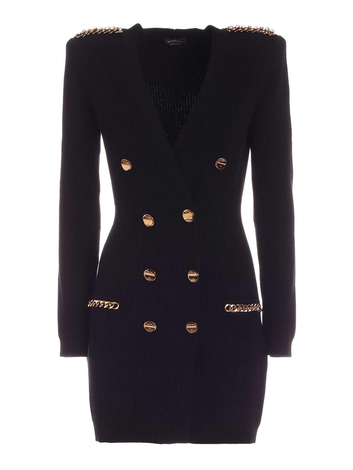 Short black knit dress with gold buttons ELISABETTA FRANCHI | Dresses | AM24S06E2110