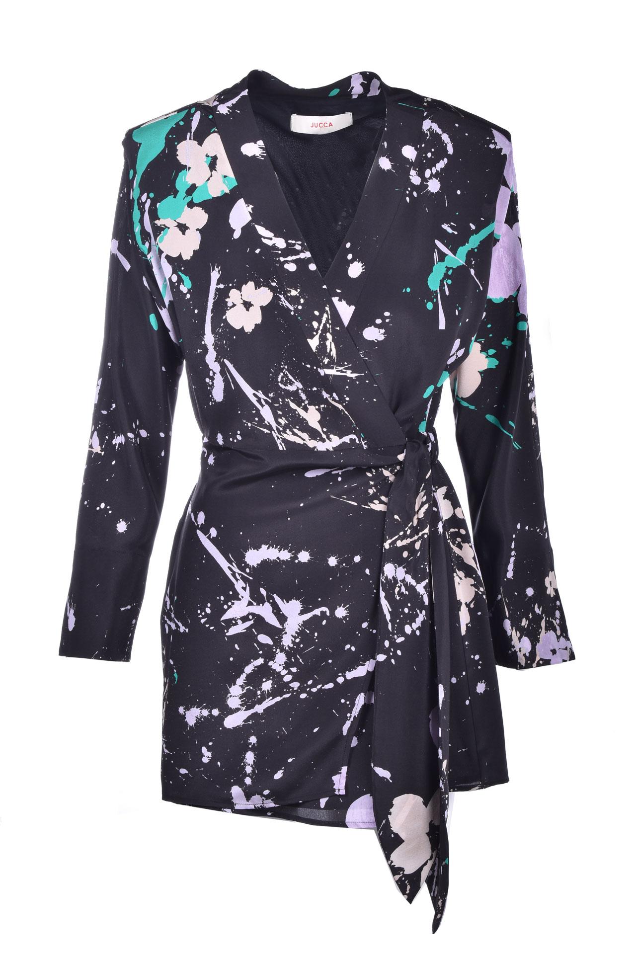 Short kimono dress in black fantasy silk JUCCA | Dresses | J3217056272