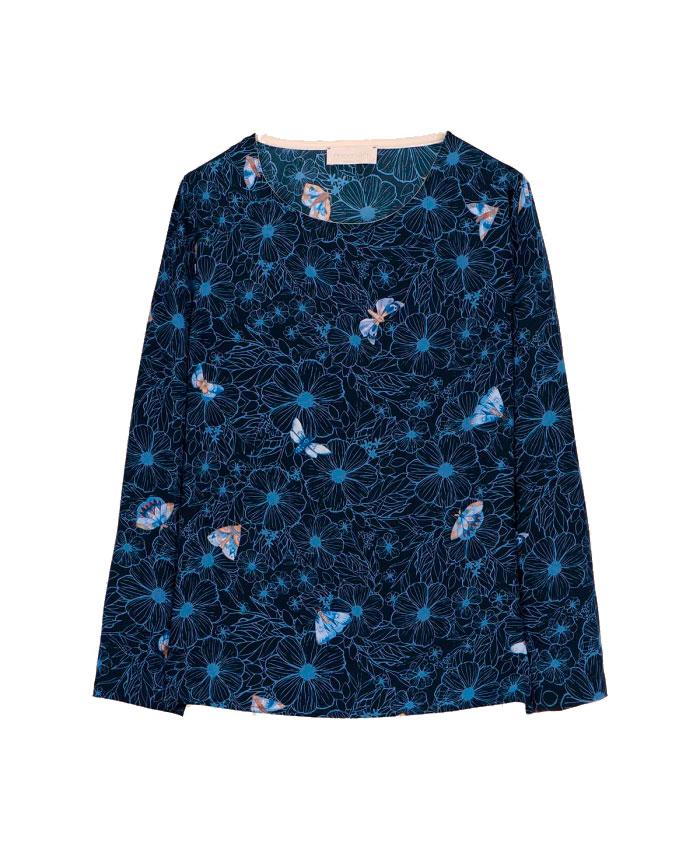 balena Blusa in crepe de chine di seta blu MOMONI | Bluse | MOBL0028085