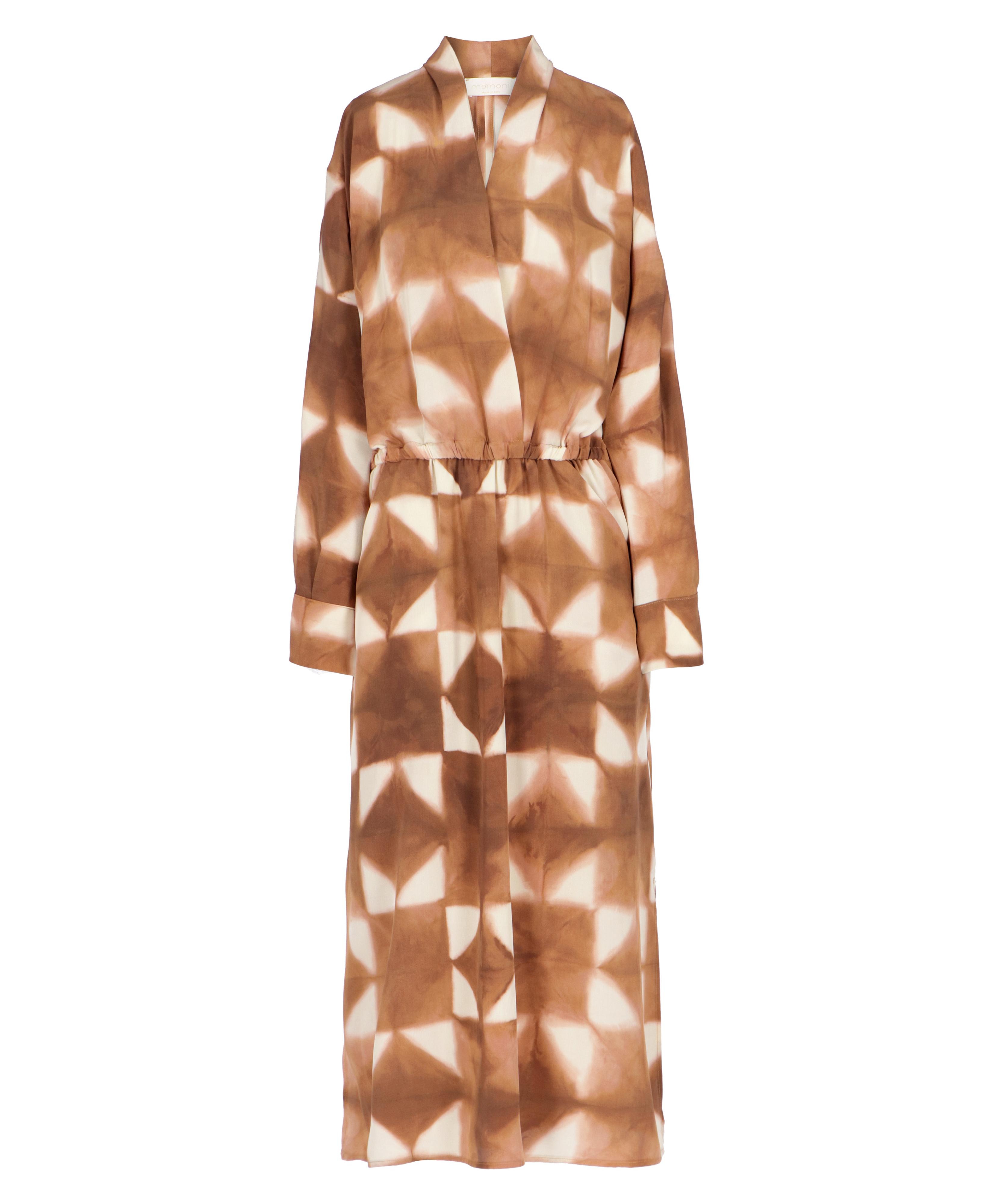 Ambra dress in brown / beige silk crepe de Chine MOMONI | Dresses | MODR0096015