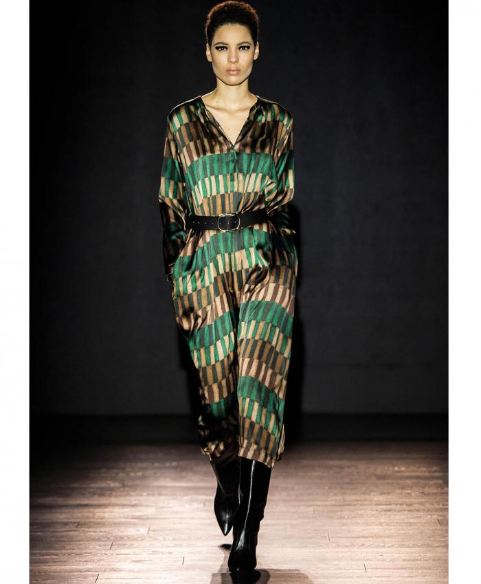 Vestito midi in raso stretch di seta verde e marrone MOMONI | Abiti | MODR0137079