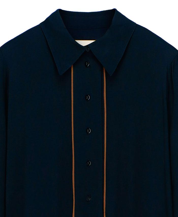 Black silk blend crepe shirt dress MOMONI | Dresses | MODR0140990