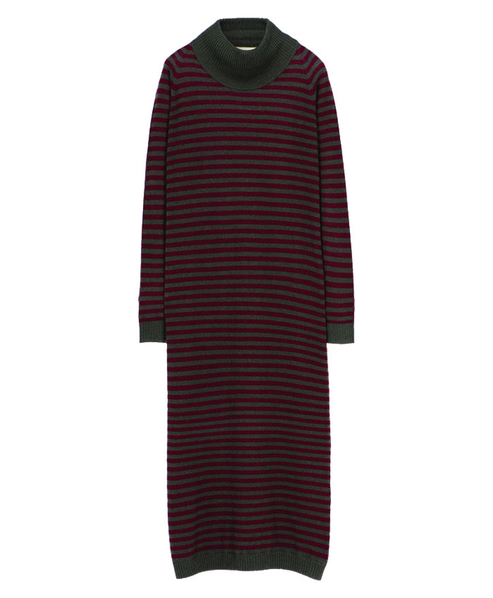 Midi dress in burgundy and green striped cachmere knit MOMONI | Dresses | MODR0294087