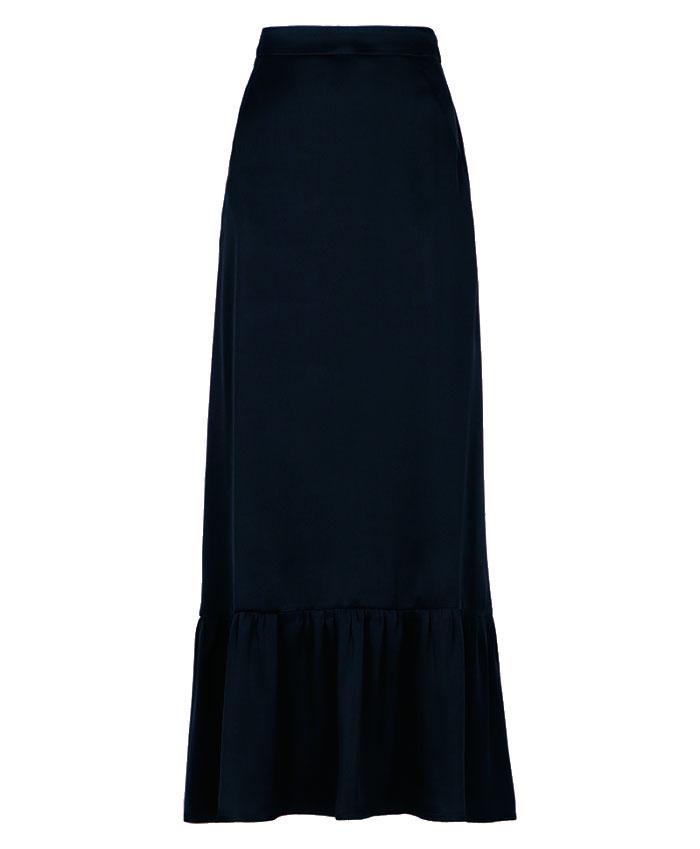 Long skirt in black silk blend satin MOMONI | Skirts | MOSK0060990