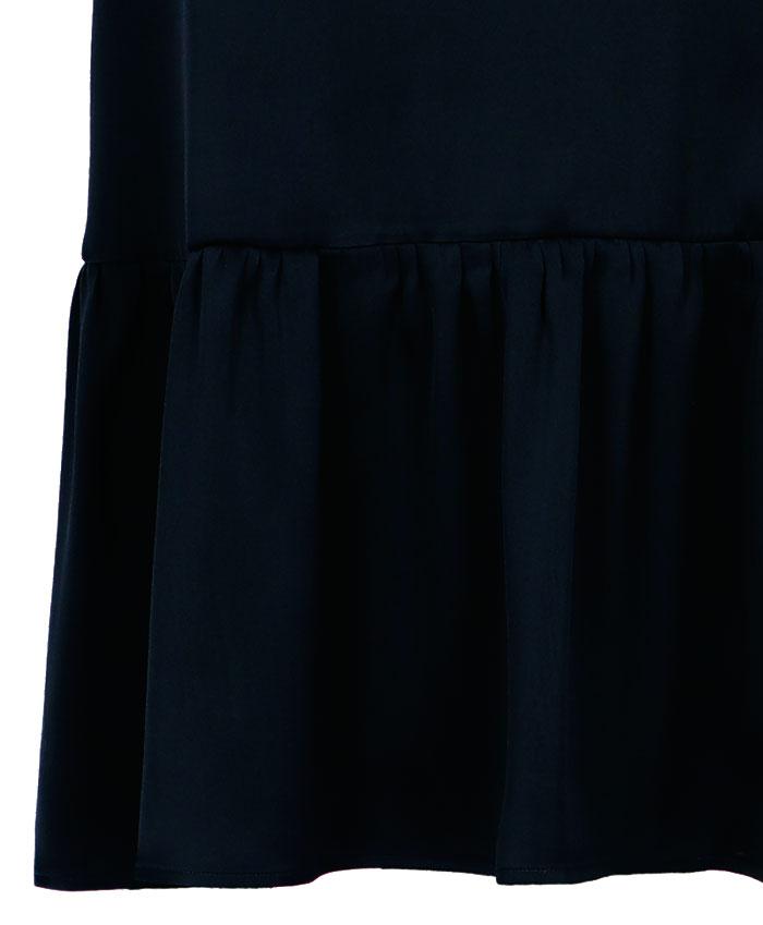 Gonna lunga in satin misto seta nero MOMONI | Gonne | MOSK0060990