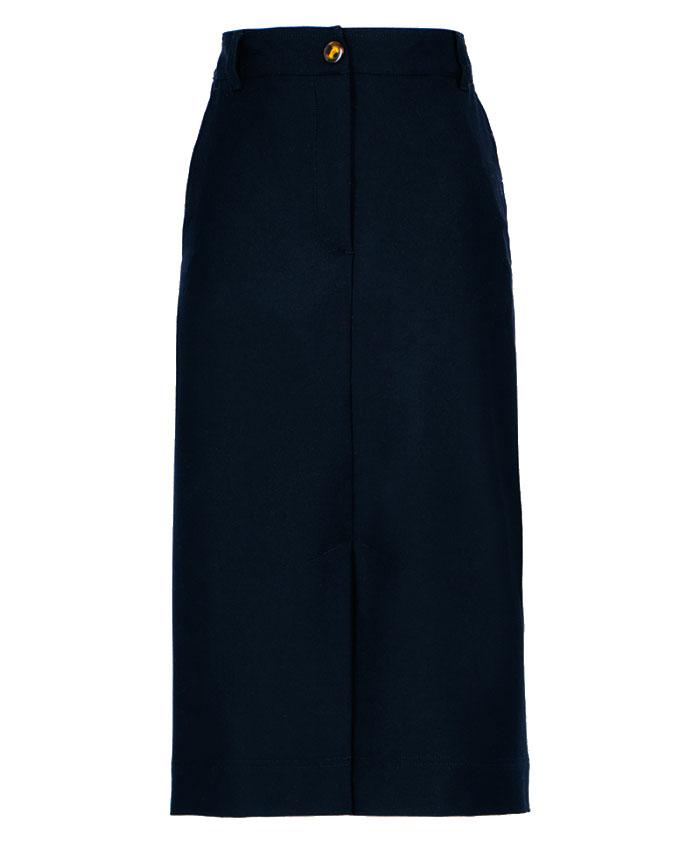 Black bi-stretch flannel midi skirt MOMONI | Skirts | MOSK0070990