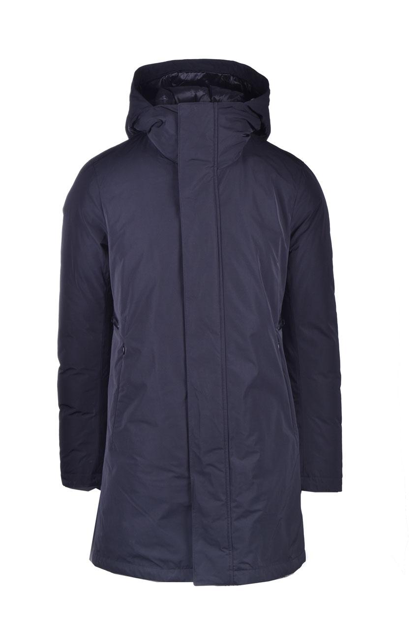 Cappotto idrorepellennte blu scuro con cappuccio MONTECORE | Cappotti | 2920CX137 20256199